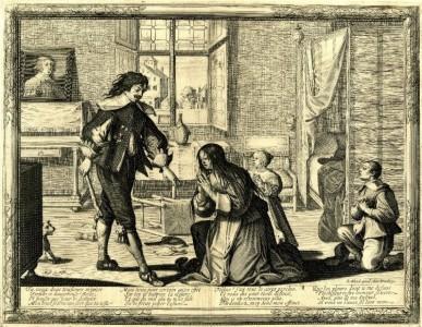 Abraham Bosse. Vyras muša žmoną . 1633 (?)