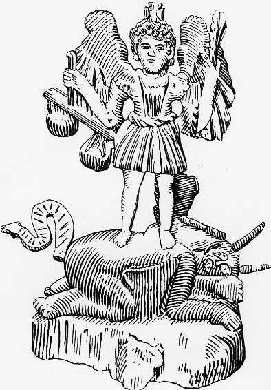 """Šv. Mykolas Arkangelas. Iš: Paulius Galaunė, """"Lietuvių liaudies menas"""", Kaunas, 1930"""