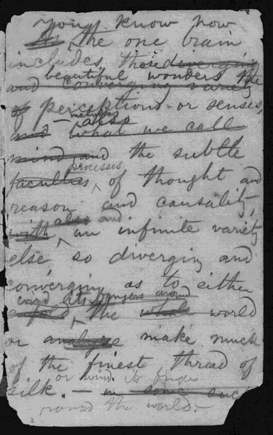 Walto Whitmano užrašų knygelės puslapis