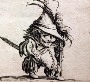 Pilvotas nykštukas su aukšta skrybėle. 1620