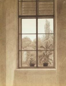 Casper David Friedrich. Langas su vaizdu į parką. Apie 1837