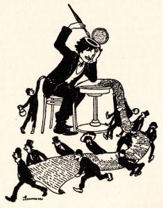 """Poeto Frigyeso Karinthy šaržas, nupieštas Nándoro Guncserio. Iš George'o Lango knygos """"Vengrų virtuvė"""""""