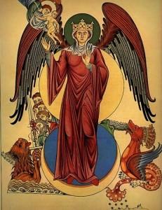 Moteris, apsisiautusi saule. XII a. pab. miniatiūra. Vokietija