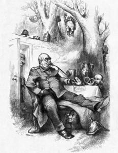 """Thomas Nast. Poilsis. Otto von Bismarcko karikatūra žurnale """"Harper's Weekly"""", 1877 m. gegužės 12 d."""