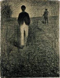 Georges Seurat. Du žmonės, vaikščiojantys lauke. 1882–1884