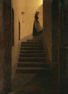 Caspar David Friedrich. Karolina ant laiptų. Apie 1825
