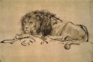 Rembrandt. Besiilsintis liūtas. 1652