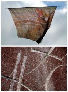 """2015-ųjų rugsėjo 22-ąją Mariaus Abramavičiaus Vijūnėlio parko dangun kilstelėtas M. K. Čiurlionio paveikslas-aitvaras """"Angelas (Angelo preliudas)"""". Ir – skulptoriaus Vlado Vildžiūno sukurto, Leningrade išlieto  bronzinio Čiurlionio paminklo, 1975-ųjų rugsėjo 22-ąją įkurdinto tuometiniame M. Melnikaitės skvere,  monograma"""