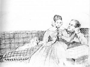 Aleksandra ir Stanislavas po vestuvių. 1842. Česlavo Moniuškos piešinys