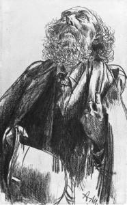 Adolph von Menzel. Aukštyn žvelgiančio barzdoto vyro portretas