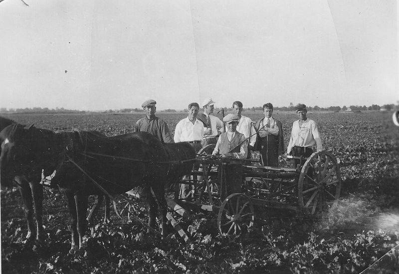 """Kazys Binkis (trečias iš dešinės) su valstiečiais arimuose. Kitoje pusėje užrašas: """"Balsiai. 1931 m."""" Maironio lietuvių literatūros muziejus"""