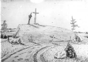 Luknių piliakalnis. Valio Girdžiūno piešinys