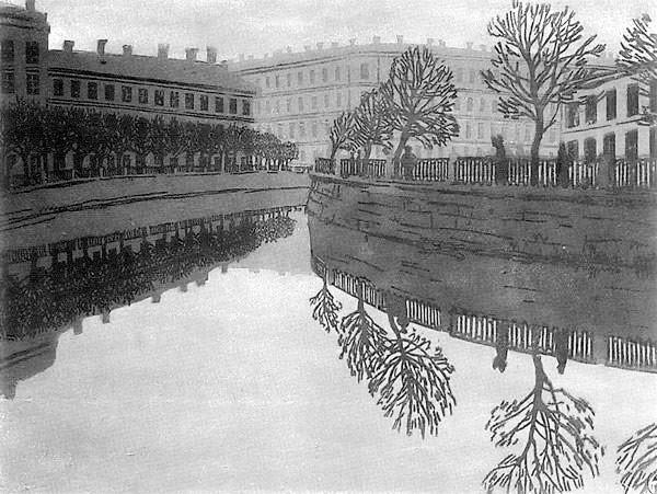 Anna Ostroumova-Lebedeva. Jekaterinos kanalas. Naktis. 1910
