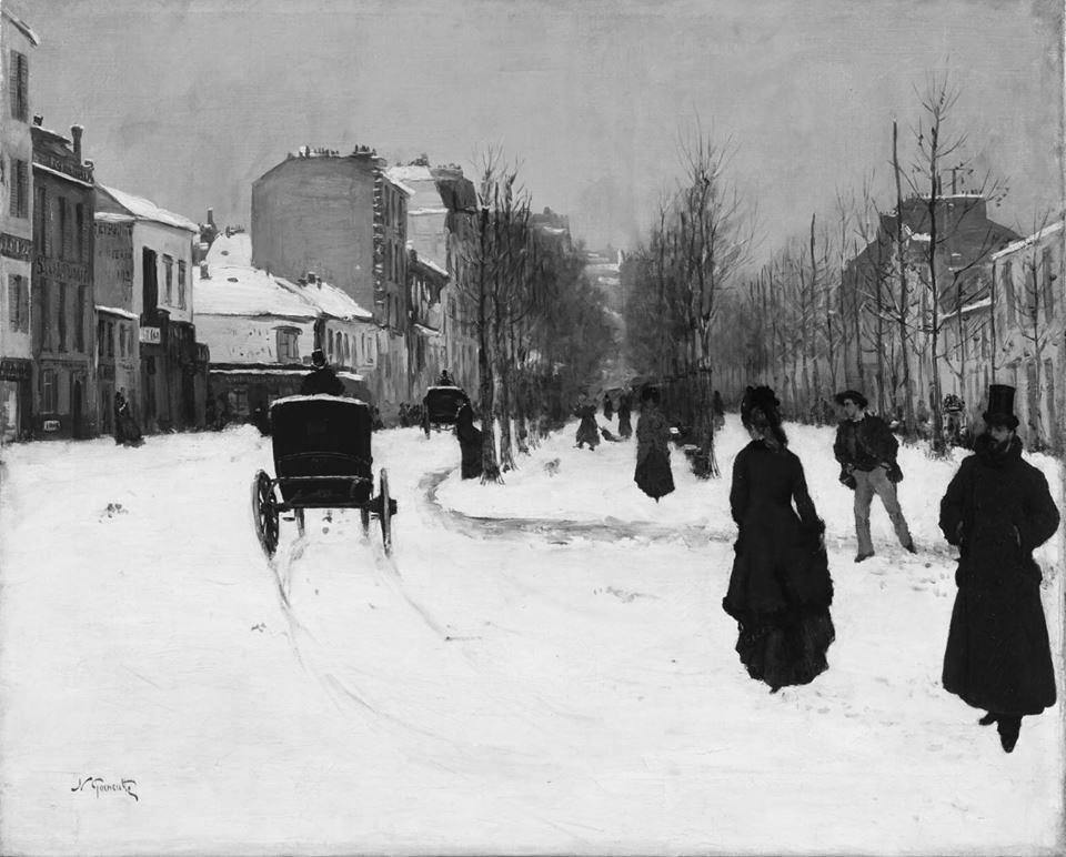 Norbert Goeneutte. Apsnigtas Kliši bulvaras. 1876