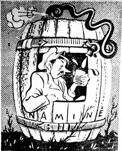 """Degtindaris. Švenčionėlių rajono laikraščio """"Naujas gyvenimas"""" karikatūra, 1958.II.16"""
