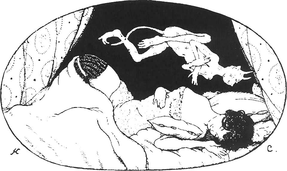 Konstantin Somov. Mieganti dama su velniūkščiu. 1906