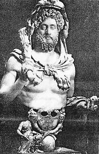 Romėnų imperatorius Komodas Heraklio poza ir romėnų karys ženklanešys. Iš: Dalia Dilytė, Senovės Romos kultūra, Vilnius: Metodika, 2012, p. 321 ir 68