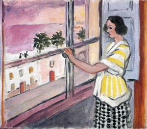 Henri Matisse. Jauna moteris prie lango. Saulėlydis. 1921