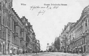 Pirmojo pasaulinio karo laikų atvirukas su J. Basanavičiaus gatvės vaizdu