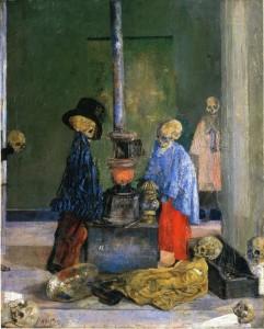James Ensor. Griaučiai bando pasišildyti. 1889