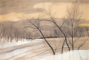 Léon Spilliaert. Medžiai žiemos kraštovaizdyje. 1929