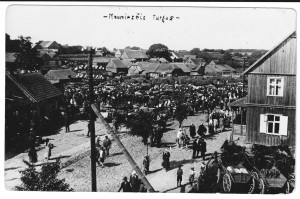 Žemaičių Naumiesčio turgus. Tarpukario atvirukas
