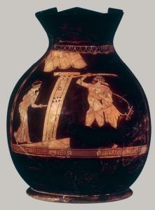 Vaza vynui pilti. V a. pr. Kr. Scena, kartais interpretuojama kaip smurto. Iš: www.metmuseum.org