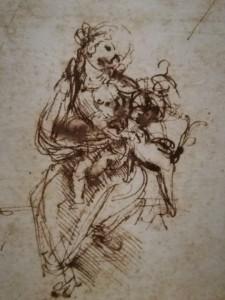 """Leonardo da Vinci. Iš studijinio eskizo """"Madonai su kate"""". Apie 1478–1480"""
