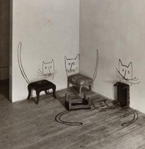 Saul Steinberg. Keturios katės. Niujorkas. 1950