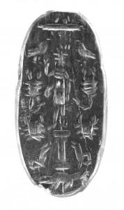 """Maginė gema, vaizduojanti dievą su liūto galva, kitoje pusėje užrašas pepte, reiškiantis """"virškink"""". II–III a."""