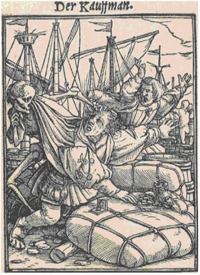 """Iš Hanso Holbeino jaunesniojo medžio raižinių ciklo """"Mirties šokis"""" (1523–1526)"""