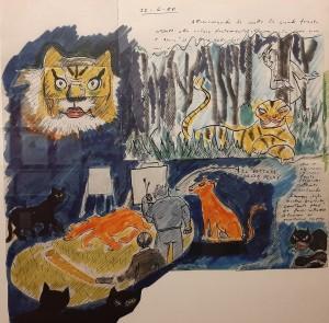 """Režisieriaus sapno piešinys iš parodos """"Federico Fellini. Šimtmetis!"""""""