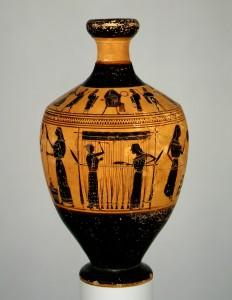 Moterys, dirbančios prie staklių. Lekitas. 550–530 pr. Kr. Iš: ww.metmuseum.org
