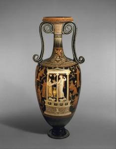Lutroforas, skirtas vandeniui pernešti vedybų ritualo metu. IV a. pr. Kr. Ši vaza, pastatyta ant kapo, reiškė, kad jame palaidotas viengungis ar viengungė. Iš: www.metmuseum.org