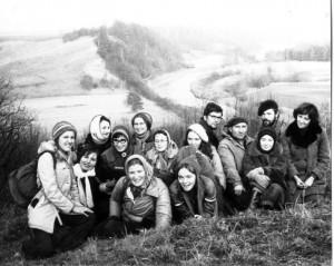 Prie Minijos. Daugiadienis žygis po vakarų Žemaitiją. 1977, lapkritis. Viktoro Dagio nuotrauka