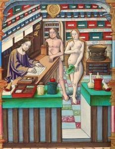 Kristus vaistininkas šaiposi iš Adomo ir Ievos, išrašydamas ne tą rytinės tabletės receptą. Apie 1537. Nacionalinė Prancūzijos biblioteka