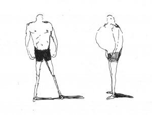 Atletas ir storulis. 2021. Autoriaus piešinys
